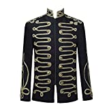Dasongff Herren Mittelalter Mantel Slim Fit Jacke Viktorianisch Vintage Gothic Gehrock Uniform Kostüm Praty Outwear Cosplay Kostüm Smoking Sticken Knopf Kurze Palaststil Jacket
