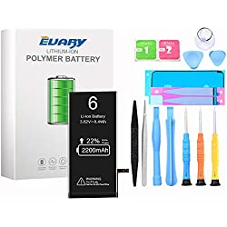 EVARY 2200mAh Batterie Interne pour iPhone 6 de Remplacement, Grande capacité Rechargeable Batterie avec Complet kit d'Outils de réparation de l'adhésif Instructions 24 Mois Garantie...