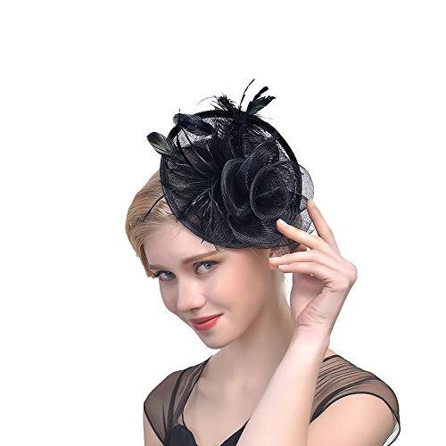 Likecrazy Damen Fascinators Hut Hochzeit Accessoires Tanzparty Cocktail Tea Headwear für Damen und Frau 20er 50er Jahre Hüte Haarreif Kopfschmuck mit - Baker's Frau Kostüm