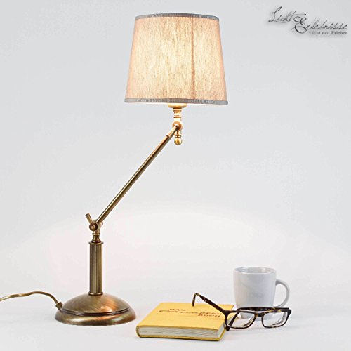 Tischlampe Messing Bronze Stoffschirm Beige E27 Verstellbar Handarbeit Tischleuchte Beistelltisch Schreibtisch -