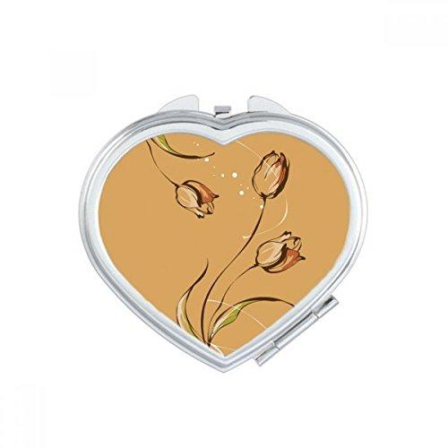 DIYthinker Tulipe Peinte à la Main Usine de Fleur de Coeur Miroir Compact Maquillage Portable Mignon Cadeau Miroirs de Poche à la Main Multicolore