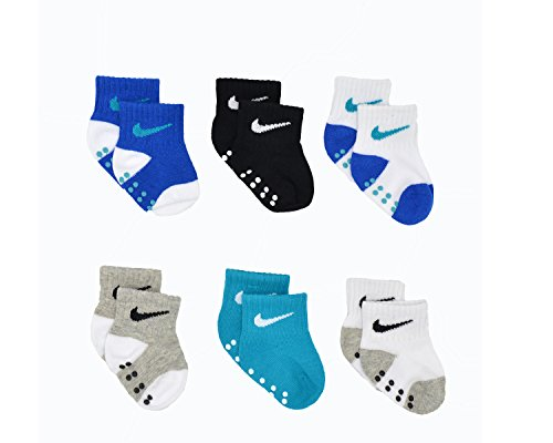 Baby Bucket Prewalkers foldup stretchable Skid-Resistant Soft Cotton Baby 6pc Socks Set (4-8 Months, Multicolor Blue-2)