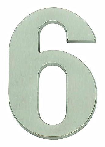 Vintage Hausnummer Sechs - Nickel matt
