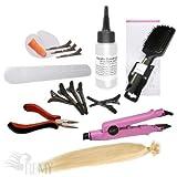 RemyHaar.eu - Starter Set Haarverlängerung 76 Teile U-Tip 0,5g 60x Echthaar Strähnen Bonding Extensions Wärmezange Glatt - 60cm 24