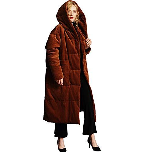 GZYD Damen Daunenjacke Mit Kapuze Cord Verdicken Warm bleiben Bequem Slim Fit Langer Abschnitt Karamellfarbe Mantel aus Baumwolle,L (Mantel Cord-gefütterte)