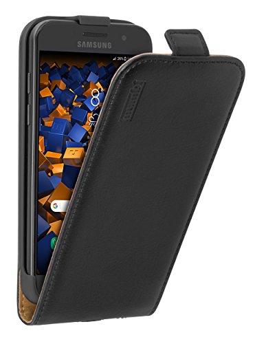 mumbi Echt Leder Flip Case kompatibel mit Samsung Galaxy A3 2017 Hülle Leder Tasche Case Wallet, schwarz