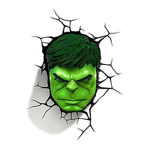 JU FU - Luminaire Applique murale - Avengers Hulk masque 3D lampe murale créative led petite lampe lampe de chevet nuit lumière éclairage @ (Couleur : A)