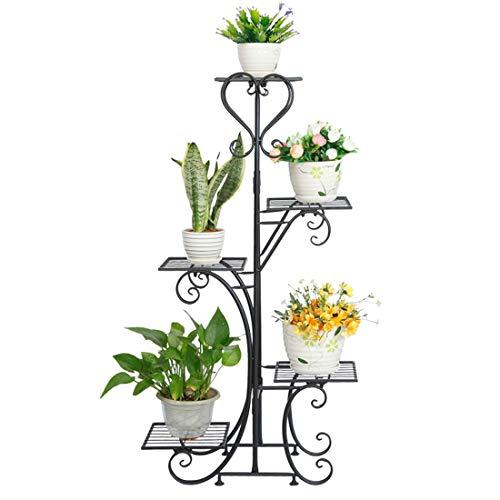 Dittzz Blumentreppe Metall, Blumenständer mit 5 Ablagen Pflanzentreppe für Innen-Balkon Wohzimmer Outdoor Garten Deko, 50 x 25 x 106cm(Schwarz)