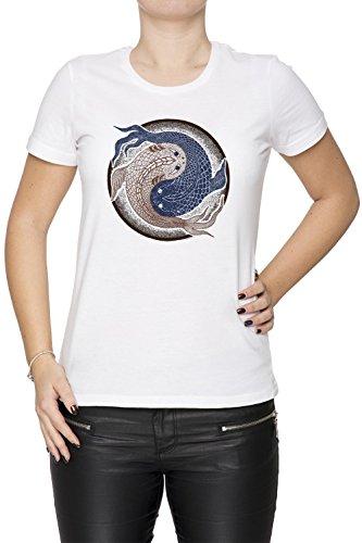 Yin Yang Pescado, shuiwudao Mandala Mujer Camiseta Cuello Redondo Blanco Manga Corta Tamaño M Women's White Medium Size M