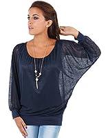 KRISP® Femme Top Shirt Blouse Oversize Manche Chauve Souris en Mousseline avec Collier