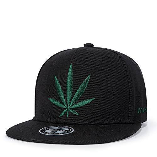 NBKLS Marihuana Weed Leaf Flat Peak Snapback Caps, Super Star Snakeskin Hip Hop Bling Unisex Hut Outdoor-Sport-Hut,W151
