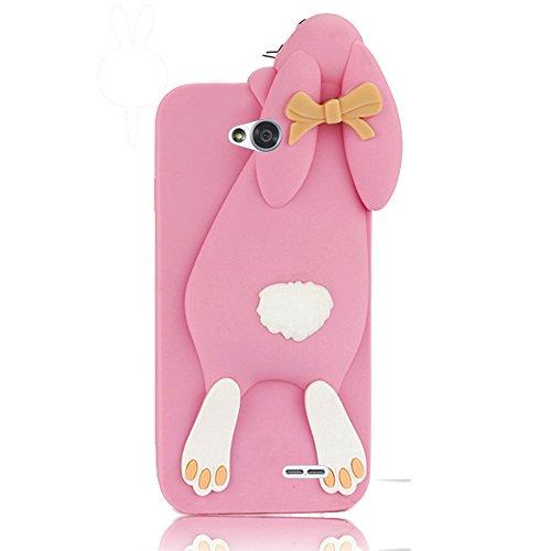Sunroyal 3D Fashion Case Cute Funny Süße Silikon Schutzhülle Buck Teeth Bunny Rabbit Soft Weichem Handy Tasche für LG L90 D405 Karikatur Cartoon Zubehör Set Handyhülle Etui Skin Shell Zurück Rückseite,Pink Rosa