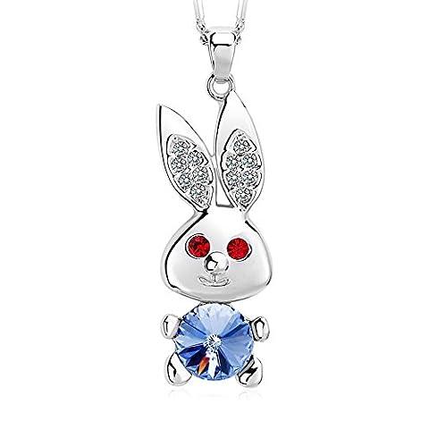 FANSING Schmuck Kristalle Tier Hase Halskette mit Anhänger für Damen Mädchen Blau