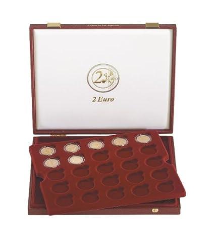 Coffret luxe, Pour 50 monnaies commémoratives 2 € sous capsules Ø intérieur 26 mm (Lindner 2454)