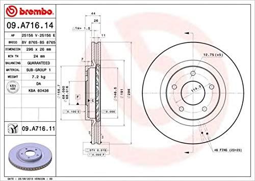 Brembo 09.A716.14 -  Disco  Freno, 2 Pezz