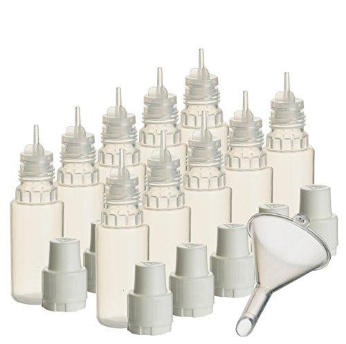Liquid-10 Ml Flasche (10 x 10 ml Liquidflaschen mit Füll-Trichter für E-Liquids E-Zigaretten e-shisha Plastik-flasche Dosier-flasche Spritz-flasche Leer-flasche Tropf-flasche Quetsch-flasche Nadel-flasche PP)