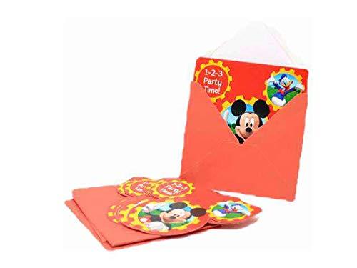 ALMACENESADAN 9971, Pack 6 Einladungen mit Disney Mickey Mouse-Umschlag (Micky Einladung Maus)