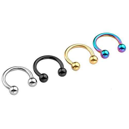 PiercingJ 4 Paare 1.6mm Edelstahl Ohrring Lippen Nase Zungen Piercing Septum Ring Hufeisen Circular Barbell (Innendurchmesser 10mm)
