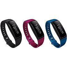HSW SmartBand para medidor de presión arterial V07–Smart Pulsera Monitor de ritmo cardíaco podómetro Bluetooth 4.0pulsera Fitness Tracker Raise despertar a reloj de pulsera para IOS Android, Hsw-v07, V07-Black