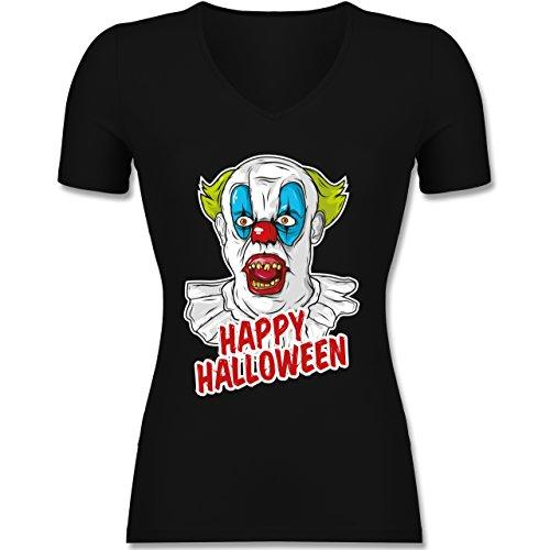 Halloween - Happy Halloween - Clown - XXL - Schwarz - F281N - Tailliertes T-Shirt mit V-Ausschnitt für (Frauen Zombie Kostüm Clown)