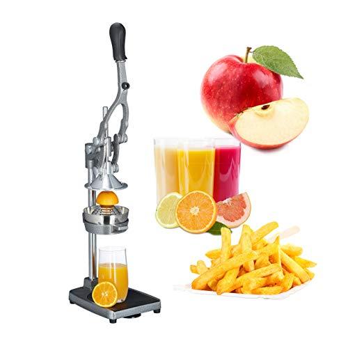 Relaxdays Profi Saftpresse manuell 3in1 Pommesschneider, Apfelschneider, Orangenpresse HBT: 47,5x17,5x40,5 cm, Edelstahl (Bar Frucht-entsafter)