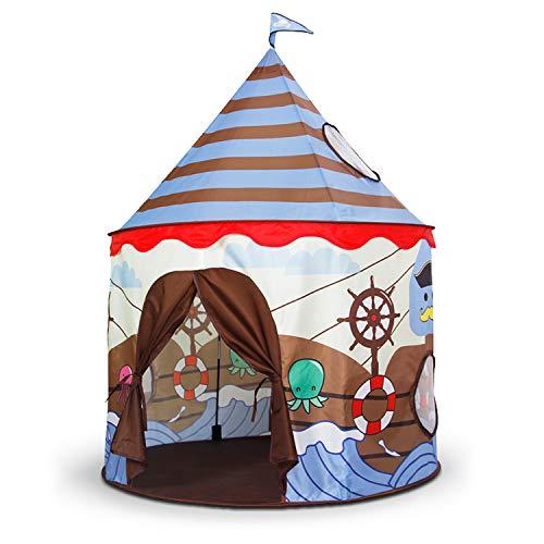 Homfu Kinder Spiel-Zelt für Jungen Mädchen draußen Camping Reisen Kinder Spiel-Zelt mit Pop-up Design Krabbel Tunnel (grau)
