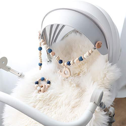 Mamimami Home 3PC Mobile-Kette Figuren zum Aufhängen an Kinderwagen spielbogen für babys Kinderwagenkette diy holz bastelset schnullerkette baby armband