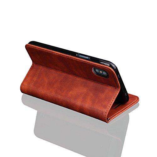 iPhone X Hülle, MOONMINI PU Leder Brieftasche Kartensteckplätze Handy Tasche Case Slim Fit Flip Bookstyle Lederhülle Schutzhülle mit Flip Stand Funktion und Magnetverschluss Handycover für iPhone XHel Hellbraun