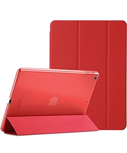 ProCase iPad 9.7 Hülle 2018 iPad 6 Generation /2017 iPad 5 Generation Tasche - Äußerst Schlank Leichtgewicht Ständer mit Transluzent Matt Rückseite Intelligente Hülle für Apple iPad 9.7 Zoll -Rot