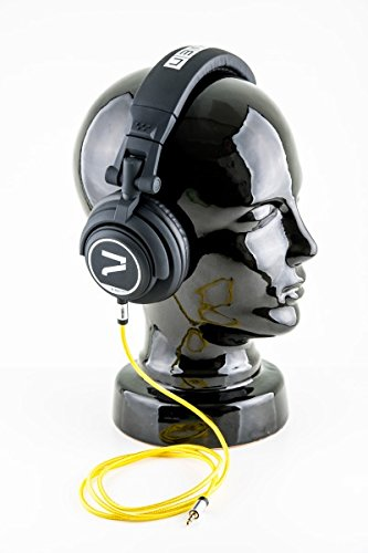 7even Headphone Black/Yellow Dj Kopfhörer, Studiokopfhörer, Over-Ear Studio Monitor mit 50mm Neodym und 110db 32Ohm inkl. hochwertigem Textilkabel mit 3,5mm Aux Klinkenstecker u. 6,3mm Adapter