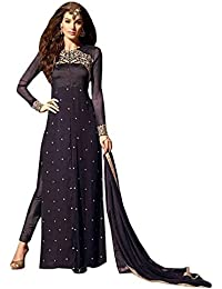VIHA Women's Georgette Dress Material (MS01_Navy_Blue_2_Free Size_Navy Blue)
