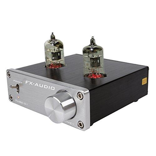 JouerNow FX Tube-01 Pre-Amplifier HIFI Stereo Puffer Vorverstärker, mit Mini 6J1 Ventil & Vakuum Tube, 12V(Silber)