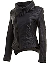 Infinity Ladies Short Retro Black Removable Collar Leather Biker Jacket Slim Fit