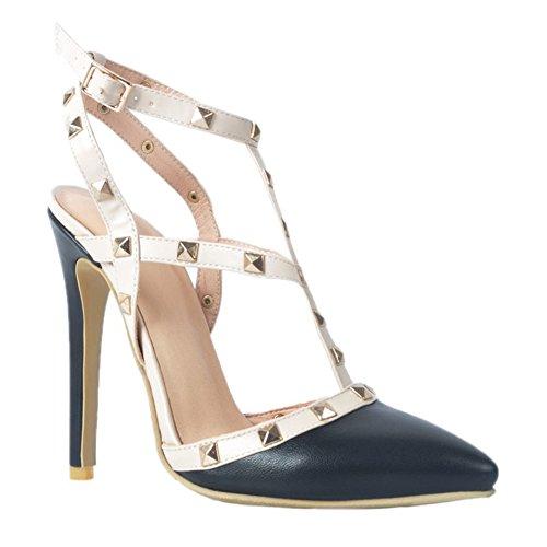 Kolnoo Damen Handgefertigte Slingback Spikes High Heel Party Fashion Sommer Sandalen Schuhe Black