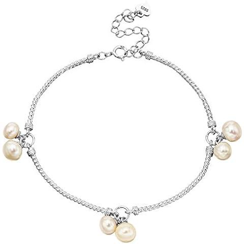 EleQueen argento 925 AAA pulsante Crema coltivata d'acqua dolce perla filigrana del braccialetto del nuziale