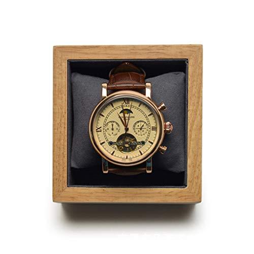 SODDEY Einzelne Uhrenbox, Massivholz Schmuck Display Aufbewahrungskoffer Organizer mit dunkelgrauem Kissen, 9.5 * 9 * 4.7cm, Trapez Design