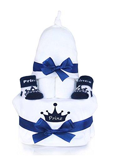 """Preisvergleich Produktbild Babygeschenk WINDELTORTE Junge """" Prince"""" Lätzchen & Mütze & Babysocken +Grußkarte"""