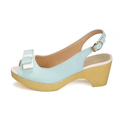 VogueZone009 Donna Luccichio Colore Assortito Fibbia Sbirciare Tacco Medio Sandali Azzurro