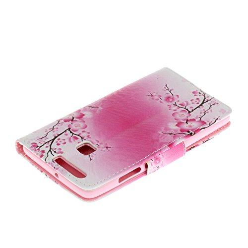 iPhone 6 6S Cover,Flip Cover Portafoglio Guscio Protettiva Custodia in Pelle per iPhone 6 6S Wallet Case Casi Caso Con carte di credito slot,Cozy Hut Elegante borsa Custodia in Pelle Protettiva Flip P fiore Plum