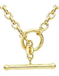 Carissima Gold 9 ct Yellow Gold Oval Belcher T Bar Curb Chain Necklace of 43 cm/17 inch