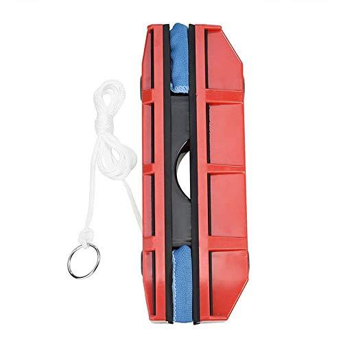 BOI Magnetische doppelseitige Fensterreiniger, Gleiter Waschen, Glasreinigungsbürste, Werkzeug mit Tuch für doppelt verglaste Fenster, passend für 0,8-0,3 cm Fensterdicke, ABS, rot, for Single Glazed