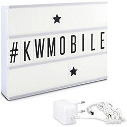 kwmobile Boîte à lumière A4 - Boîte lumineuse cinéma LED - Lightbox blanche avec 105 lettres en noir - Enseigne lumineuse sur pile ou prise