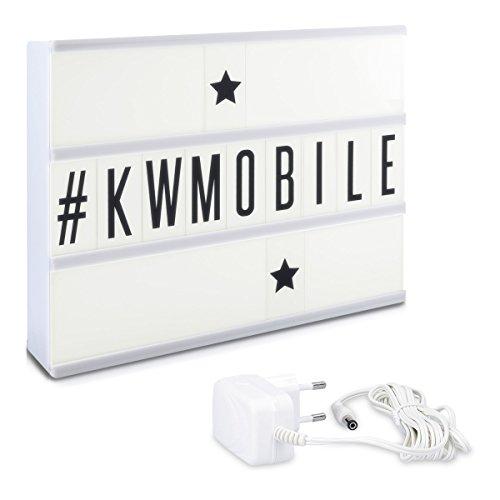 Kwmobile insegna luminosa lightbox cinema - luce led alloggiamento bianco a4 105 caratteri neri lettere numeri simboli - a batteria o alimentatore