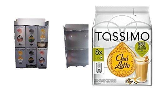 T-Disc Dispenser, Halter für 6 T-Disc Kartons von James Premium® + Aktion 1 Pack Tassimo Chai Latte zur Montage an der Wand geeignet und auch standfest da kein Plastik sondern Edelstahl mit Ablagefach und seitliche Zubehörschächte