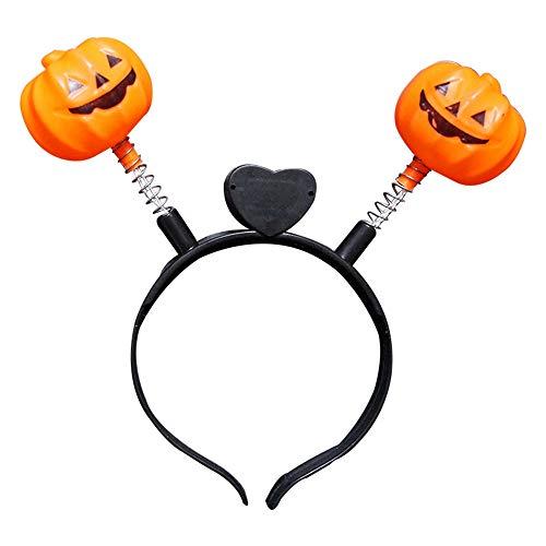 Halloween Stirnband Kürbis Leuchtend für Frauen Mädchen Halloween LED Leuchten Kürbis Kostüm Cosplay Stirnband Prop (Der Leuchtende Jack Kostüm)