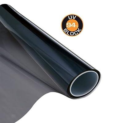 Carboni 111801 Film Solaire noir 50x300cm pour vitres latérale auto caravane bateau maisons bloque 94% UV