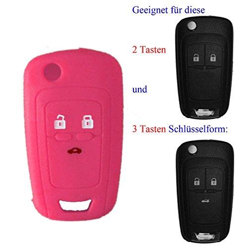 RotSale 1x Rosa Schlüsselhülle für Opel 2-3 Tasten Autoschlüssel Silikon Schutzhülle Tasche Gehäuse Fernbedingung Klappschlüssel