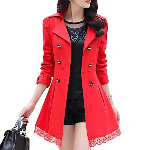 Zengbang donna giacche a vento leggere cuciture in pizzo giubbotto elegante cappotto trench (rosso, asia m)