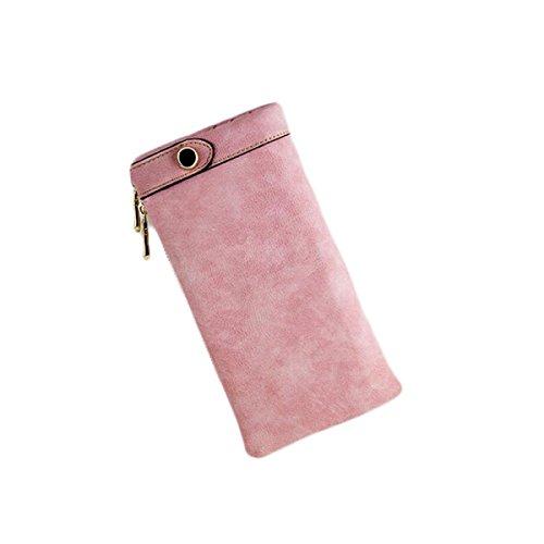 La Signora Portafoglio Delle Donne Lungo Tratto Opaca Retrò Cerniera Pacchetto Frizione Borsa Telefono Pink