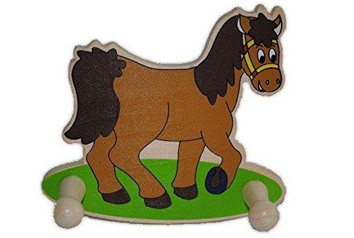 GARDEROBE KINDER 2 KLEIDERHAKEN Tiere Pferd HOLZ Holzgarderobe Kindergarderobe